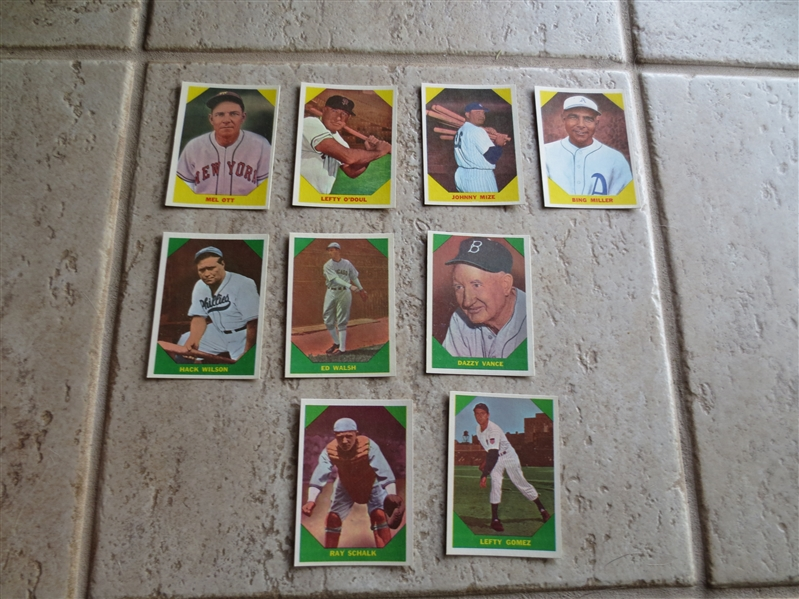 (9) 1960 Fleer Greats baseball cards in super condition:  Ott, O'Doul, Mize, Miller, Wilson, Walsh, Vance, Schalk, Gomez