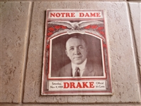 1929 Notre Dame vs. Drake football program at Soldier Field Knute Rockne cover  RARE