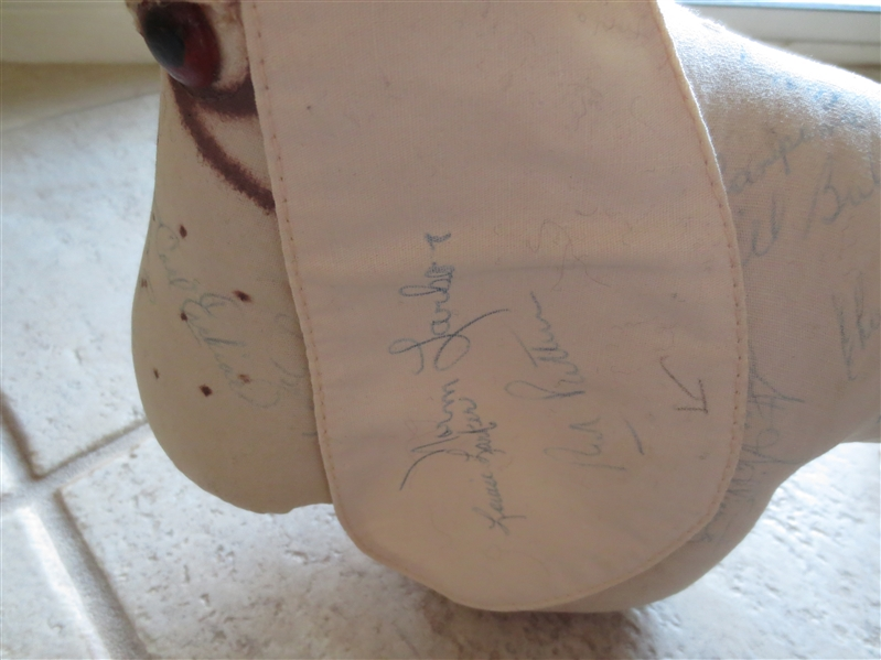 Autographed 1959 Los Angeles Dodgers Team signed stuffed dog with 23 signatures!  World Series Year! One of a kind!