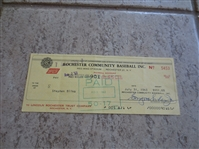 Autographed Steve Bilko signed check   Pacific Coast League baseball superstar  RARE