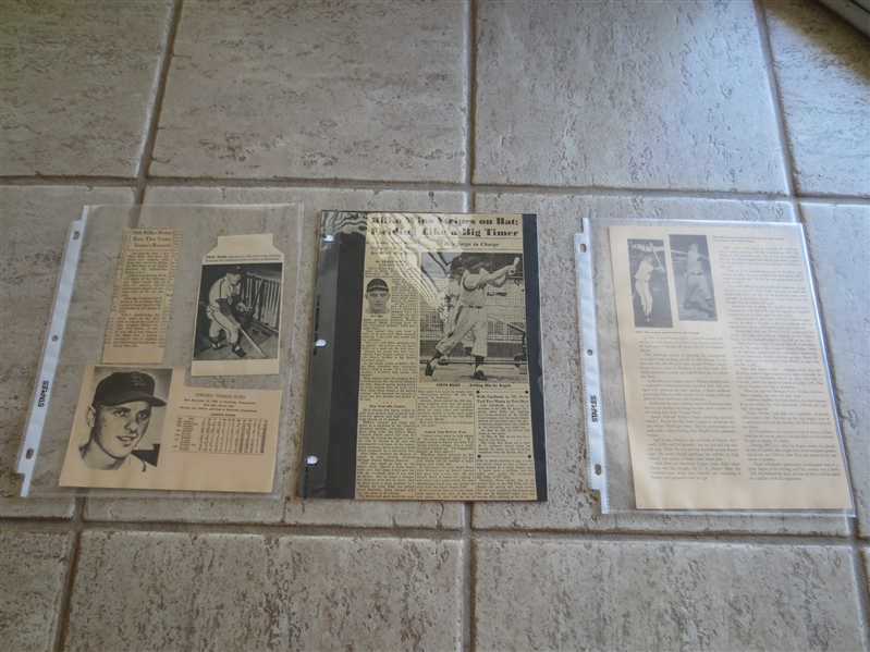 1954 Steve Bilko Athletic Build Rating Forms plus photo plus 1963 Salada Coin plus news articles