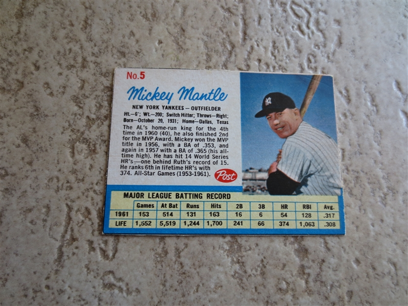 1962 Post Cereal Baseball Card Complete Set minus one card ---in very nice condition!