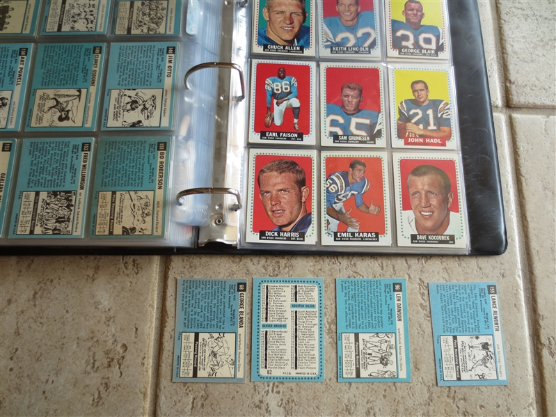 1964 Topps Football Card Complete Set minus one checklist in beautiful condition