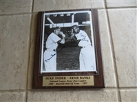 Autographed Duke Snider and Ernie Banks black and white photo