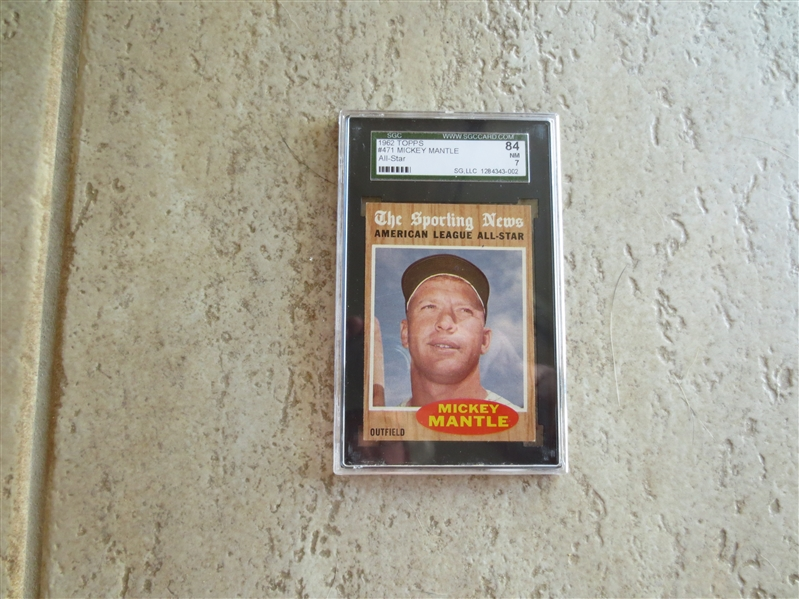 1962 Topps MIckey Mantle All Star SGC 84 nmt 7 baseball card #471