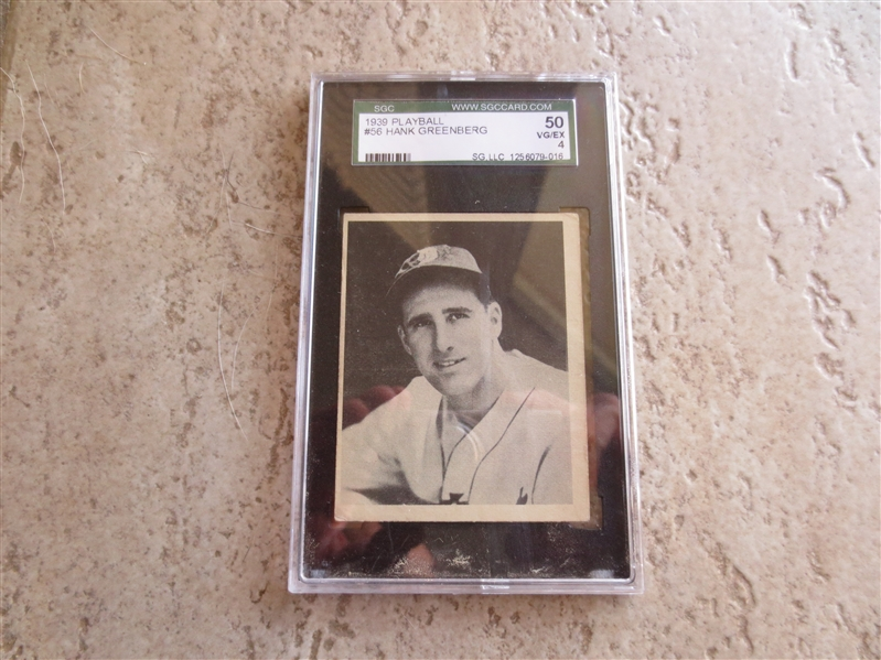 1939 Playball Hank Greenberg SGC 50 vg-ex baseball card #56 in affordable condition