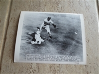1949 Jackie Robinson Double Play Pivot Wire Photo by Acme