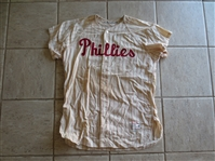 1959 Don Cardwell Game Worn Used Philadelphia Phillies Home Jersey Wilson #46  WOW!